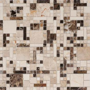 Каменная мозаика Colori Viva Natural Stone Mos.Mix.Polished Spainish (разноформатная) Crema Marfil/Dark Emperador/Light Emperador 30.5х30.5