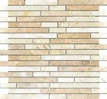Каменная мозаика Colori Viva Natural Stone Strips Mix.Polished Light Emperador+Crema Marfil 30.5х30.5