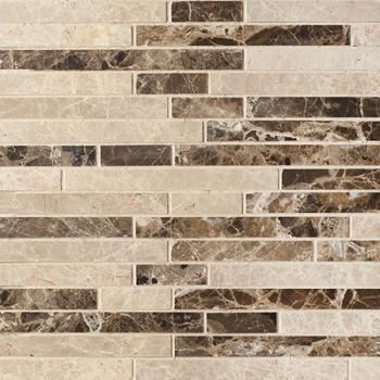 Каменная мозаика Colori Viva Natural Stone Strips Mix.Polished Light Emperador+Dark Emperador 30.5х30.5