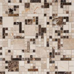 Colori Viva Natural Stone Mos.Mix.Polished Spainish (разноформатная) Crema Marfil/Dark Emperador/Light Emperador 30.5х30.5