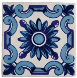 Декор Dec.Flor Azul Antic Blanco 13*13