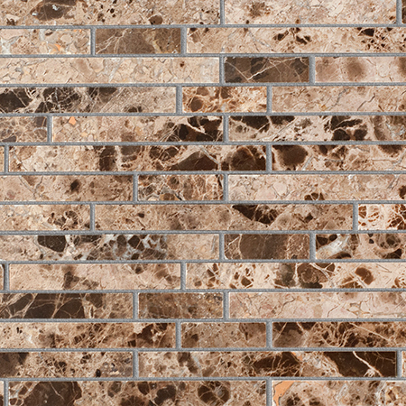 Каменная мозаика Colori Viva Natural Stone Strips Polished Dark Emperador 30.5х30.5