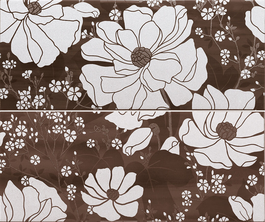 Керамические декоры Paul Ceramiche СК048 Композиция PAUL SKYFALL PSFD21 inserto shine brown A+B 50*60