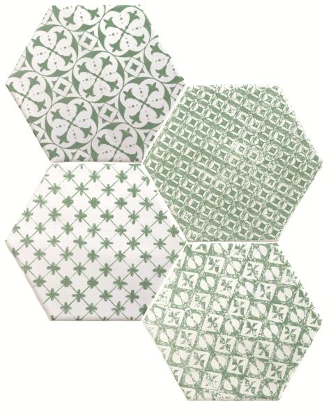 Керамические декоры Cevica Marrakech Mosaic Verde Hexagon Декор 150х150 мм/56,1